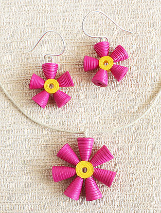 Pink-Yellow Paper Necklace with Earrings (Set of 2)