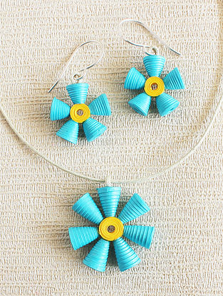 Turquoise-Yellow Paper Necklace with Earrings (Set of 2)