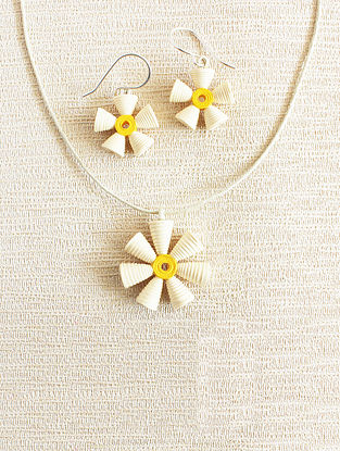 White-Yellow Paper Earrings