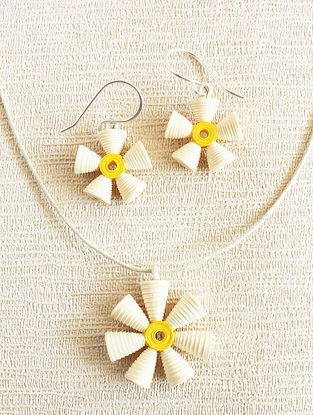 White-Yellow Paper Necklace with Earrings (Set of 2)