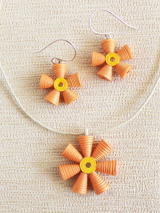 Orange-Yellow Paper Necklace with Earrings (Set of 2)