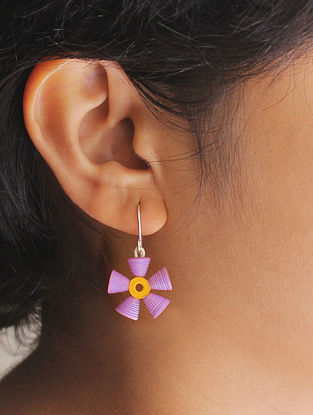 Purple-Yellow Paper Earrings