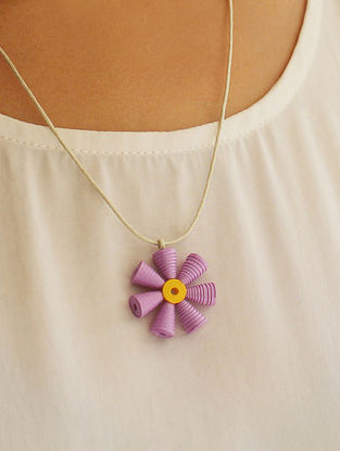 Purple-Yellow Paper Necklace
