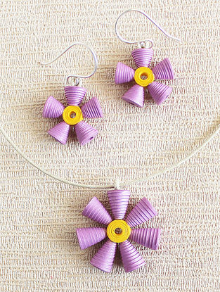 Purple-Yellow Paper Necklace with Earrings (Set of 2)
