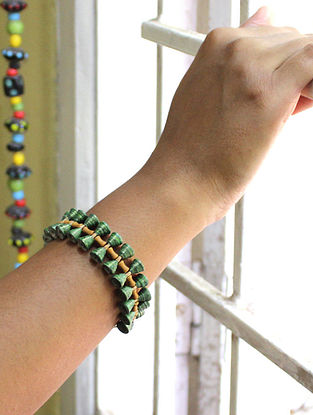 Green-Brown Paper Bracelet