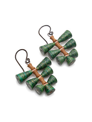 Green-Brown Paper Earrings