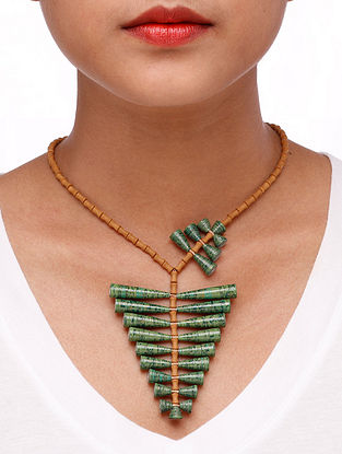 Green-Brown Paper Necklace