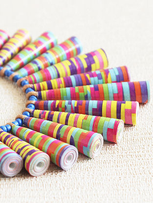 Multicolored Paper Beaded Necklace