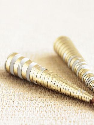 White Gold Tone Paper Beaded Earrings