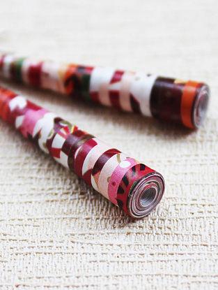 Multicolored Paper Beaded Earrings