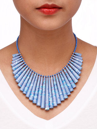 Blue Paper Beaded Necklace