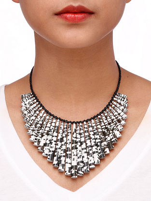 Black White Paper Beaded Necklace