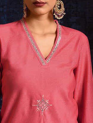 Carrot Handloom Silk Kurta with Hand Embroidery