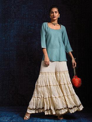 Blue Handloom Silk Short Kurta with Hand Embroidery