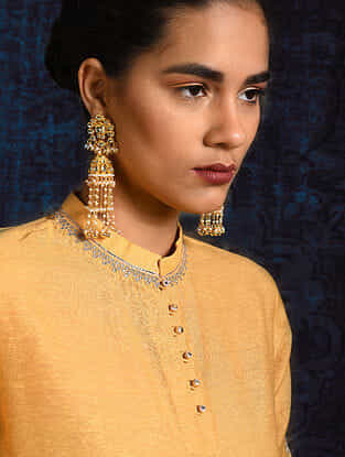 Yellow Pleated Handloom Silk Kurta with Hand Embroidery
