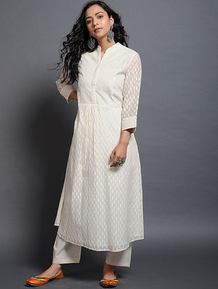Ivory Silk Cotton Cutwork Kurta with Schiffli
