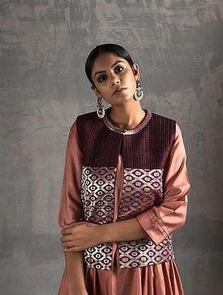 Maroon Vintage Benarasi Silk Brocade Quilted Jacket
