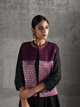 Purple Vintage Benarasi Silk Brocade Quilted Jacket