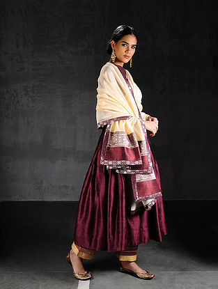 Ivory-Maroon Chanderi Dupatta with Brocade