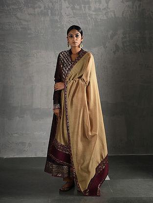Beige, Maroon Chanderi Dupatta with Brocade