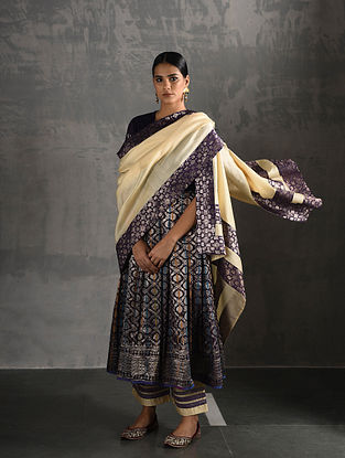 Ivory, Purple Chanderi Dupatta with Brocade
