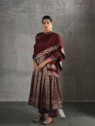 Maroon Chanderi Dupatta with Brocade