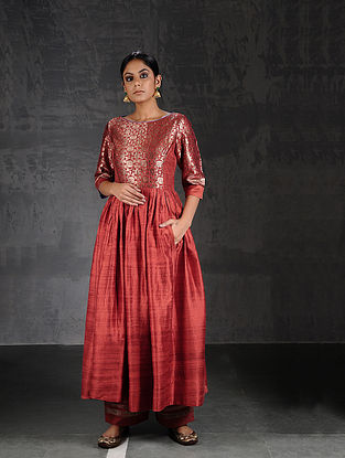 Rust Vintage Benarasi Silk Brocade Quilted Kurta with Pockets