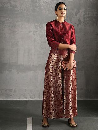 Red Vintage Benarasi Silk Brocade Pants
