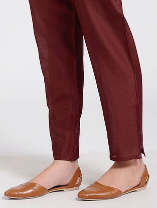 Maroon Silk Cotton Pants with Zipper