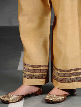 Beige Silk Cotton Pants with Brocade