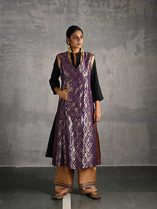 Purple Vintage Benarasi Silk Brocade Front-open Jacket