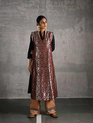 Maroon Vintage Benarasi Silk Brocade Front-open Jacket