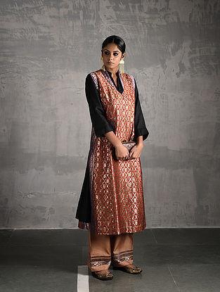 Orange Vintage Benarasi Silk Brocade Front-open Jacket