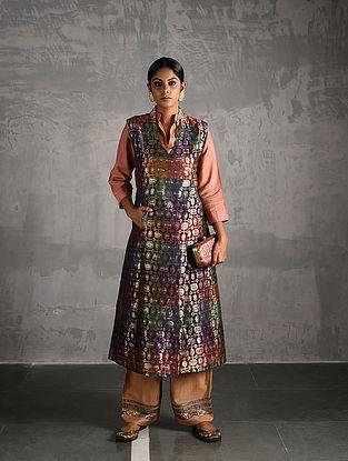 Multicolor Vintage Benarasi Silk Brocade Front-open Jacket