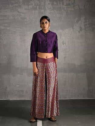 Purple Quilted Silk Blouse