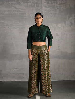 Green Quilted Silk Blouse