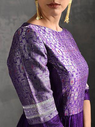 Purple Vintage Benarasi Silk Brocade Quilted Kurta with Pockets