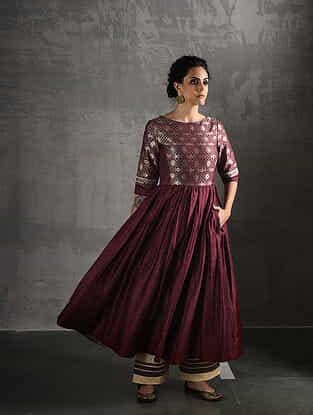 Maroon Vintage Benarasi Silk Brocade Quilted Kurta with Pockets