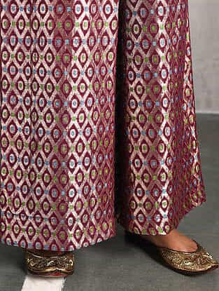 Pink Vintage Benarasi Silk Brocade Pants
