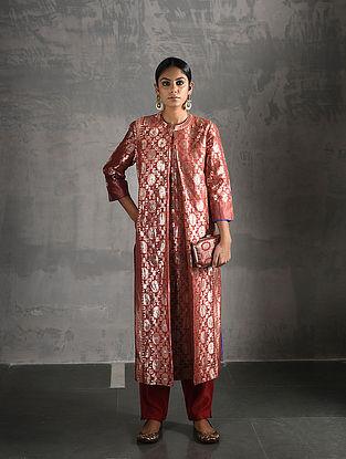 Orange Vintage Benarasi Silk Brocade Pleated Kurta with Pockets