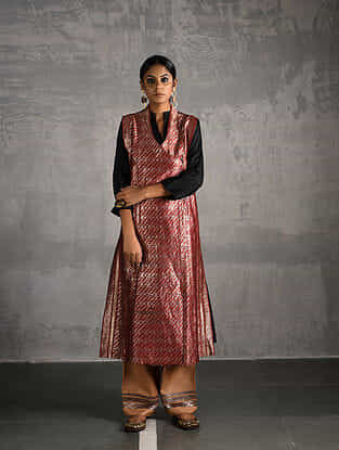 Red Vintage Benarasi Silk Brocade Front-open Jacket