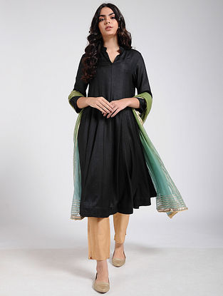 Black Cotton Silk Kalidar Kurta