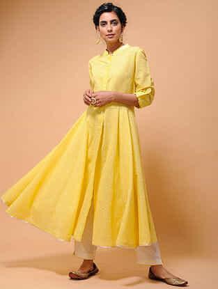 Yellow Cotton Cutwork Flared Kurta with Tissue Trim