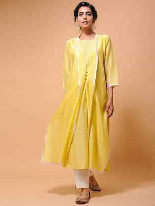 Yellow Chanderi Jacket with Cotton Cutwork Slip (Set of 2)