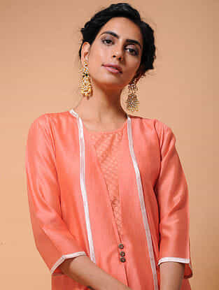 Orange Chanderi Jacket with Cotton Cutwork Slip (Set of 2)