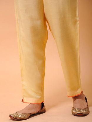 Yellow-Orange Elasticated-waist Silk Cotton Pants