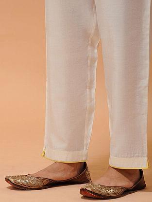 Ivory-Yellow Elasticated-waist Silk Cotton Pants