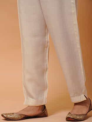 Ivory-Beige Elasticated-waist Silk Cotton Pants