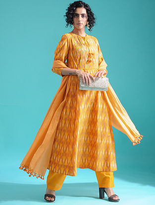 Yellow Ikat Silk Cotton Kurta