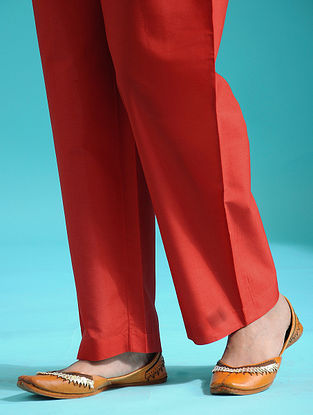 Red Tie-up Waist Handloom Silk Cotton Pants
